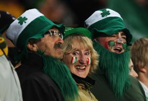 AUCKLAND, NEW ZEALAND - SEPTEMBER 17: Ireland fans enjoy the atmosphere during the IRB 2011 Rugby World Cup Pool C match between Australia and Ireland at Eden Park on September 17, 2011 in Auckland, New Zealand.  (Photo by Sandra Mu/Getty Images)