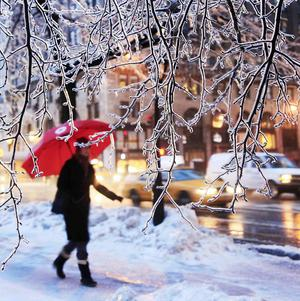 Icy pavements and slow-moving traffic in New York (AP)