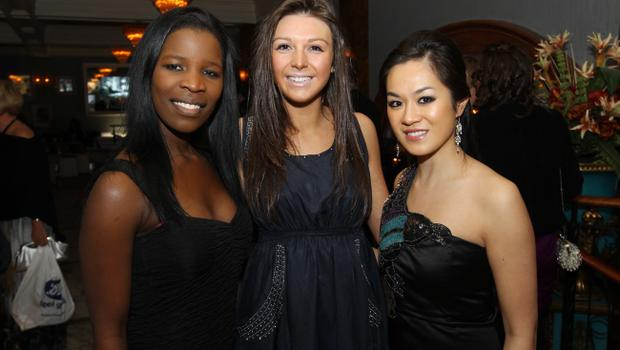 Sibonguile Mude, Charlotte Sythes and Danielle Wong at the Alison Campbell Modelling Agency Christmas Party at Cafe Vaudeville. Picture by Kelvin Boyes / PressEye.com
