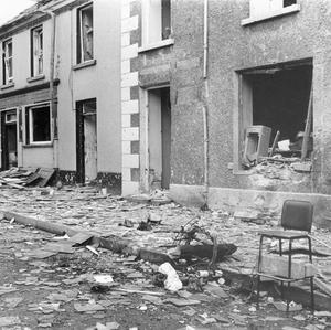 The main street in Claudy after the 1972 bombing in Co Londonderry