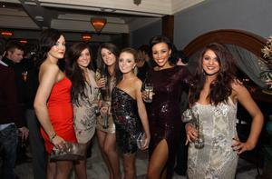 Jessica McCrea, Emma Hughes, Jennifer Carson, Gemma Boyle, Lori Moore and Sasha Gale at the Alison Campbell Modelling Agency Christmas Party at Cafe Vaudeville. Picture by Kelvin Boyes / PressEye.com