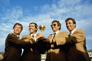 (FILE PHOTO)  Spanish Golf Legend Seve Ballesteros Dies At 54.Charismatic former World No. 1, five time Major winner, five time Ryder Cup winner, both as a player and as captainand winner of the European Tour's Order of Merit on six occasions.http://www.gettyimages.co.uk/Search/Search.aspx?EventId=113809426 15 Sep 1985:  (L to R) Manuel Pinero, Seve Ballesteros, Jose-Maria Canizares and Jose Rivero of the European team hold the trophy after victory over the USA in the Ryder Cup at the Belfry in Sutton Coldfield, England. \ Mandatory Credit: David Cannon /Allsport