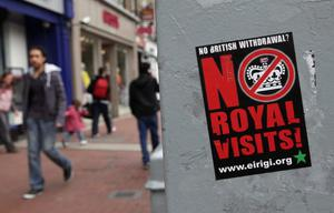 A poster is seen on a lamp post in advance of the Queen and Duke of Edinburgh's visit on May 16, 2011 in Dublin, Ireland.