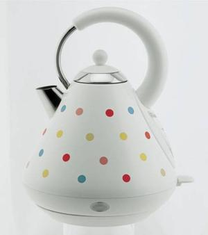 <b>6. Cookworks - £29.99, argos.co.uk:</b><br/> Add a dash of colour with this polka-dot-design. It takes just two minutes and 25 seconds to boil a litre of water, yet it's significantly quieter than most kettles