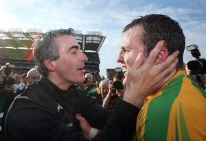 GAA Football All Ireland Senior Championship Final, Croke Park, Dublin 23/9/2012Donegal vs MayoDonegal manager Jim McGuinness and Michael Murphy celebrate after the gameMandatory Credit ©INPHO/Cathal Noonan