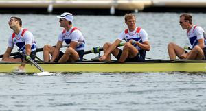 Great Britain's (left to right) Chris Bartley, Richard Chambers, Rob Williams and Peter Chambers in win silver the final of the lightweight men's four at Eton Dorney Rowing Lake, Windsor.