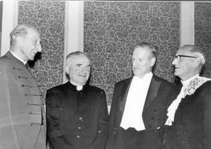 Methodist College Centenary Banquet. Mr A.S. Worrall (third left) headmaster of Methodist College, at the Methodist College Centenary Banquet in the City Hall. With Mr Worrall are (from left) DR R.C.H. Elliott, Church of Ireland Bishop of Connor, Dr William Philbin, Roman Catholic Bishop of Down and Conner and Dr John H. Withers, Moderator of the General Assembly, 1968.