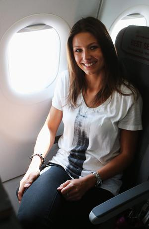 L'VIV, UKRAINE - JUNE 09: Silvia Meichel, girlfriend of Mario Gomez is pictured on the flight from Gdansk to Lviv on June 9, 2012 in L'viv, Ukraine.  (Photo by Joern Pollex/Getty Images)