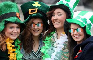 St Patrick's Day celebrations take place in Belfast.  Left to right.  Alice McGirr, Aoibheann Shiels, Maeve Flanagan and Sinead McLaughlin pictured in Belfast City Centre. 2010