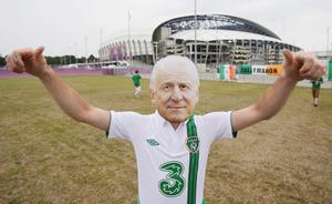 A Republic of Ireland fan arrives for the UEFA Euro 2012, Group C match at the Municipal Stadium, Gdynia, Poland