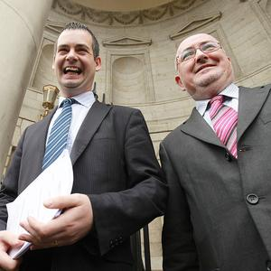 Sinn Fein's Pearse Doherty (right) with Caoimhghn Caolin TD