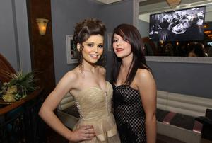 Sarah and Stephanie McQuillan at the Alison Campbell Modelling Agency Christmas Party at Cafe Vaudeville. Picture by Kelvin Boyes / PressEye.com