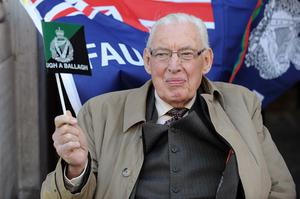 20/5/2011 Pacemaker Belfast. Former First Minister Ian Paisley salutes members of the Royal Irish Rangers this evening as they were welcomed home by thousands in Ballymena town centre after their tour of Afghanistan. Picture Charles McQuillan/Pacemaker.