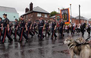Picture by Matt Mackey/presseye.comPresseye.com - Belfast - Northern Ireland - 12th July 2011.Orangemen along with bandsman make their was into Belfast to join up with other bands and marchers for the annual Twelfth of July celebrations.