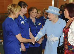 The Queen mets staff of the newly opened South West Hospital during the secong visit of the day to the provincePhoto by Simon Graham/Harrison Photography