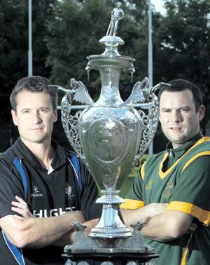 Battle lines: CIYMS skipper Barry Cooper (left) wants to lift the trophy for the first time while Peter Shields, the North Down captain, is a cup final veteran|