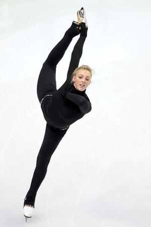 Jenna McCorkell trains at the Pacific Coliseum ahead of the Vancouver 2010 Winter Olympics