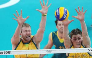 LONDON, ENGLAND - JULY 31:  Aidan Zingel #1 and Igor Yudin #6 of Australia block Australia shot from Great Britain during Men's Volleyball on Day 4 of the London 2012 Olympic Games at Earls Court on July 31, 2012 in London, England.  (Photo by Elsa/Getty Images)