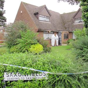 Forensic officers at the house in Tettenhall, Wolverhampton, where Hester Mottershead, 90, collapsed