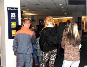 Long wait: Queues in the Ulster Bank have been steady since the IT failure