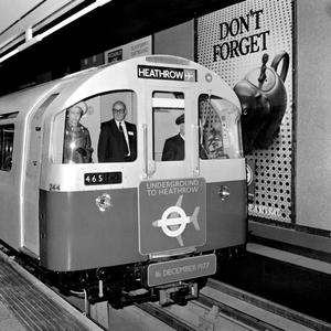 File photo dated 16/12/1977 of Queen Elizabeth II arriving at Heathrow Central station in London in the driver's cab of a Tube Train, when she officially opened the  Piccadilly Line extension linking Heathrow Airport with London's underground railway system. PRESS ASSOCIATION Photo.