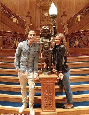 Titanic moment: JLS singer Marvin Humes and Rochelle Wiseman on the controversial replica staircase in the Titanic Belfast building