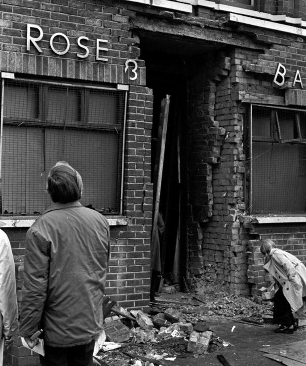 Rose and Crown Bar. Two men were killed and 27 injured when a bomb went off in the hallway of the bar. 2nd May 1974
