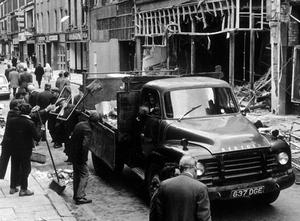 Ann Street. A huge bomb planted in a car had exploded causing extensive damage. 28th May 1972.