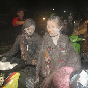 Villagers are evacuated from their homes following the Mount Merapi eruption in Klaten, Indonesia