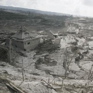A village near Mount Merapi is covered with volcanic ash