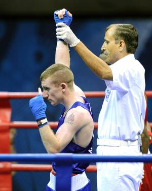 Northern Ireland's Paddy Barnes celebrates winning gold in the light fly weight final during Day Ten of the 2010 Commonwealth Games at the Talkatora Indoor Stadium in New Delhi, India