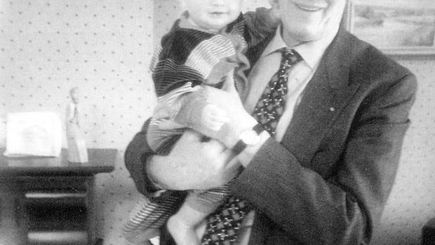 Gordon Wilson. Irish Senator who's daughter Marie was a victim of the Ennieskillen Remembrance Day explosion in 1987. Pictured with his grandson Timothy.