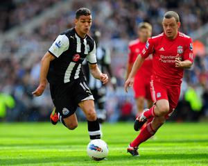 NEWCASTLE UPON TYNE, ENGLAND - APRIL 01:  Liverpool player Jay Spearing (r) and Hatem Ben Arfa in action  during the Barclays Premier League match between Newcastle United and Liverpool at Sports Direct Arena on April 1, 2012 in Newcastle upon Tyne, England.  (Photo by Stu Forster/Getty Images)