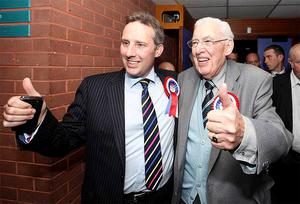 The DUP's Ian Paisley Jr pictured after winning the North Antrim seat with his father Dr Ian Paisley