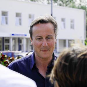 Prime Minister David Cameron speaks to the media outside the maternity ward of the Royal Cornwall Hospital