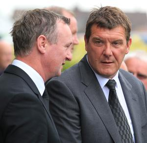 Northern Ireland manger Michael O'Neill (left) and former goalkeeper Tommy Wright