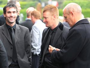 Former Northern Ireland players (l-r) Keith Gillespie, Steve Lomas and Jimmy Quinn