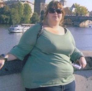 Harriet Jenkins, 25, before she dropped 10 dress sizes through healthy eating and exercise