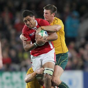 Toby Faletau (front) is flying home from Australia after breaking his hand