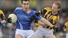 Crossmaglen's Paul McKeown and St.Gall's Kevin Niblock clash as St Gall's surrendered their Ulster and All-Ireland Club titles