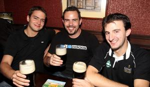 At Lavery's Bar in Belfast are Ludovic Miranda, Barry McCartney and Patrice Blanc