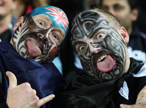AUCKLAND, NEW ZEALAND - SEPTEMBER 24: All Blacks fans pose prior to the IRB 2011 Rugby World Cup Pool A match between New Zealand and France at Eden Park on September 24, 2011 in Auckland, New Zealand.  (Photo by Sandra Mu/Getty Images)