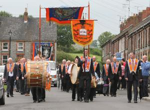 ©Mark Pearce 7th July   2011 Ulster - Northern Ireland  _____ Mandatory Credit - Photo  Mark Pearce/Bessbrook District Lodges  parade through the strreets of Bessbrook before heading to Co Armagh 12th celebration in Killylea.Mandatory Credit Photo Mark Pearce/