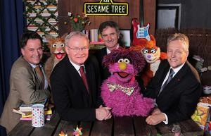Richard Williams, Chief Executive Northern Ireland Screen; Martin McGuinness, Deputy First Minister; Denis Rooney CBE, Chairman, International Fund for Ireland and Peter Robinson, First Minister pictured  with Hilda, Potto and Archie from Sesame Tree