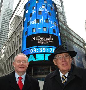 First Minister Dr Ian Paisley and deputy First Minister Martin McGuinness after they rang the opening bell ay Nasdaq,Times Square ,New York
