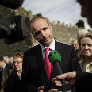 Micheal Martin speaking to the media at the annual Fianna Fail Bodenstown Wolfe Tone commemoration at the Irish Revolutionary Leader's graveside