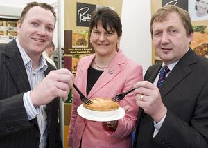 Arlene Foster (centre) with Clarke Miller, Miller Savory Foods and Clarke Black Chairman Food Promotion Northern Ireland.