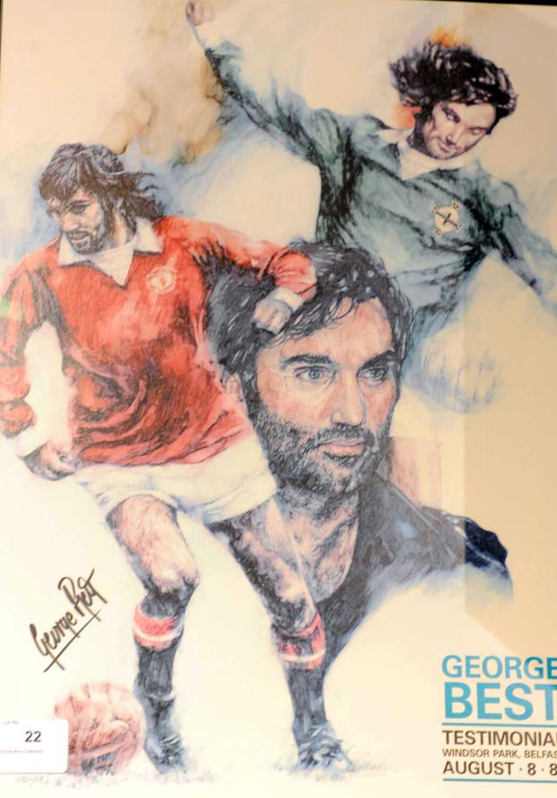 Items on sale of the Dickie Best collection which will go on public auction on the 19th march at the Wilsons premises in Mallusk with 110 lots of George Best memorabillia available which was collected by Dickie over a 40 year period.