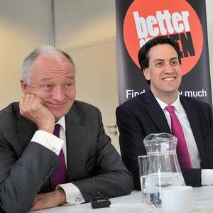 Labour's London mayoral candidate Ken Livingstone with party leader Ed Miliband at the launch of his manifesto