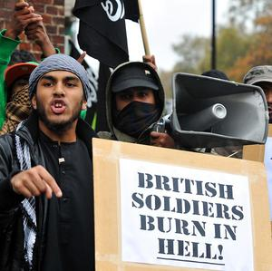 Muslims protesters on Exhibition Road in London